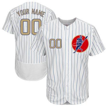 Cubs White Gold Program Men's Customized New Design Jersey