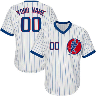 Cubs White Men's Customized Throwback New Design Jersey