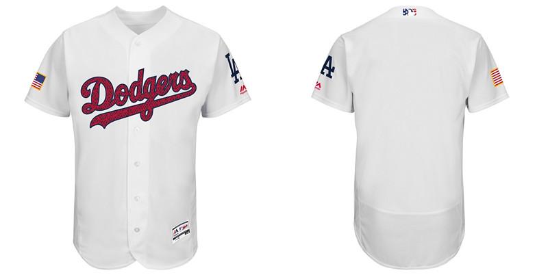 Custom Angeles Dodgers White Fashion Stars & Stripes Flexbase Authentic Stitched MLB Jersey