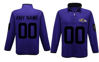 Custom Men's Baltimore Ravens Antigua Charcoal Fortune Sweater Knit Microfleece Quarter-Zip Pullover Player Jacket