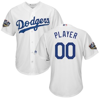 Custom Men's Los Angeles Dodgers White 2018 World Series Cool Base Jersey