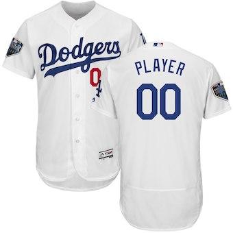 Custom Men's Los Angeles Dodgers White 2018 World Series Flex Base Jersey