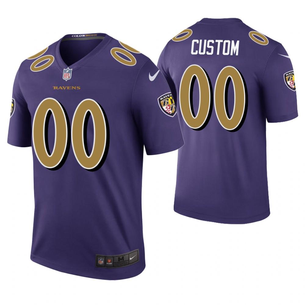 Custom Men Baltimore Ravens Purple Color Rush Jersey