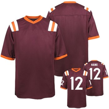 Custom Men Virginia Tech Hokies  Maroon Replica College Alumni Jersey