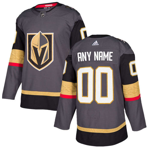 Custom Mens Vegas Golden Knights Gray Jersey