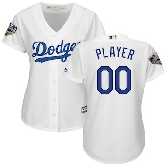 Custom Women's Los Angeles Dodgers White 2018 World Series Jersey