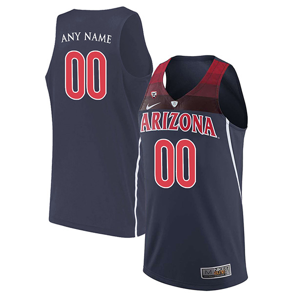 Customized Arizona Wildcats Men's Jersey Authentic Navy Blue Stitched NCAA College Basketball