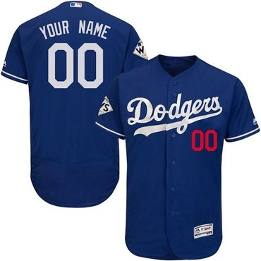 Customized Men's Los Angeles Dodgers Royal Blue 2017 World Series Bound Flex Base MLB Alternate Jersey