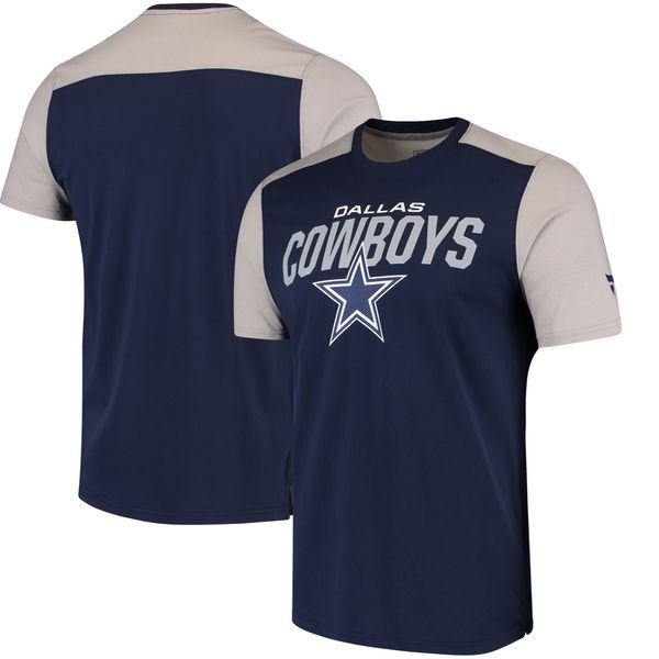 Dallas Cowboys NFL Pro Line By Fanatics Branded Iconic Color Blocked T-Shirt Navy Gray