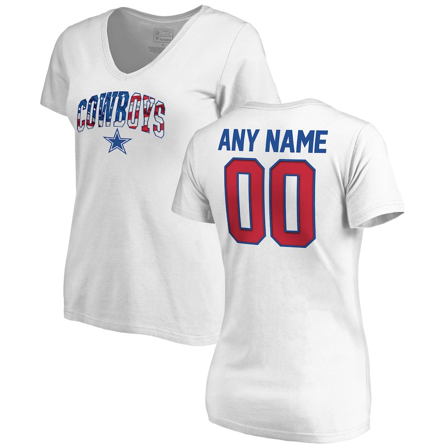 Dallas Cowboys NFL Pro Line By Fanatics Branded Women's Any Name & Number Banner Wave V Neck T-Shirt White