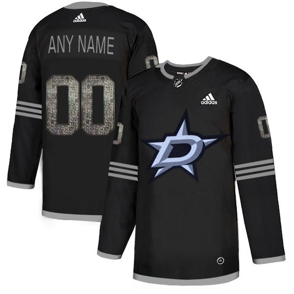 Dallas Stars Black Shadow Logo Print Men's Customized Adidas Jersey