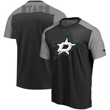 Dallas Stars Fanatics Branded Iconic Blocked T-Shirt Black Heathered Gray