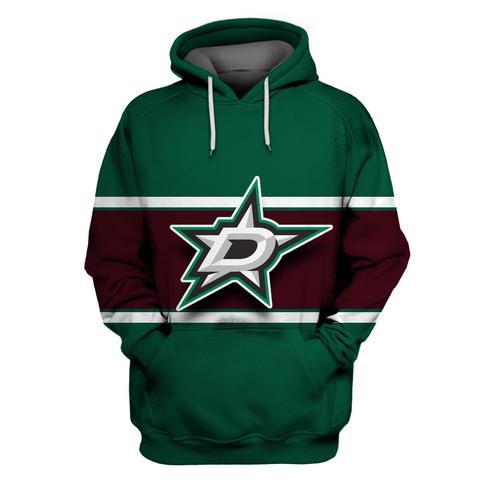 Dallas Stars Green Wine All Stitched Hooded Sweatshirt