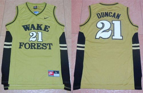 Demon Deacons #21 Tim Duncan Gold Basketball Stitched NCAA Jersey