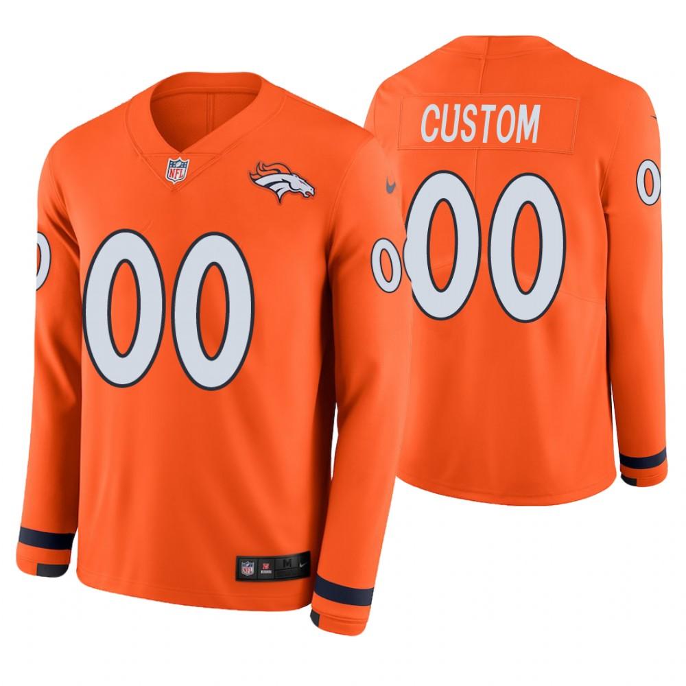 Denver Broncos Custom Orange Therma Long Sleeve Jersey