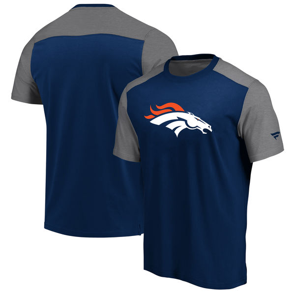 Denver Broncos NFL Pro Line By Fanatics Branded Iconic Color Block T-Shirt NavyHeathered Gray