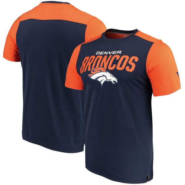 Denver Broncos NFL Pro Line By Fanatics Branded Iconic Color Blocked T-Shirt Navy Orange