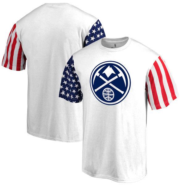 Denver Nuggets Fanatics Branded Stars & Stripes T-Shirt White
