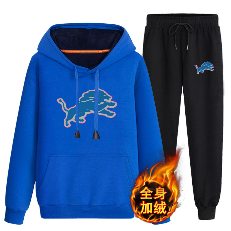 Detroit Lions Bule Men's Winter Thicken NFL Pullover Hoodie & Pant