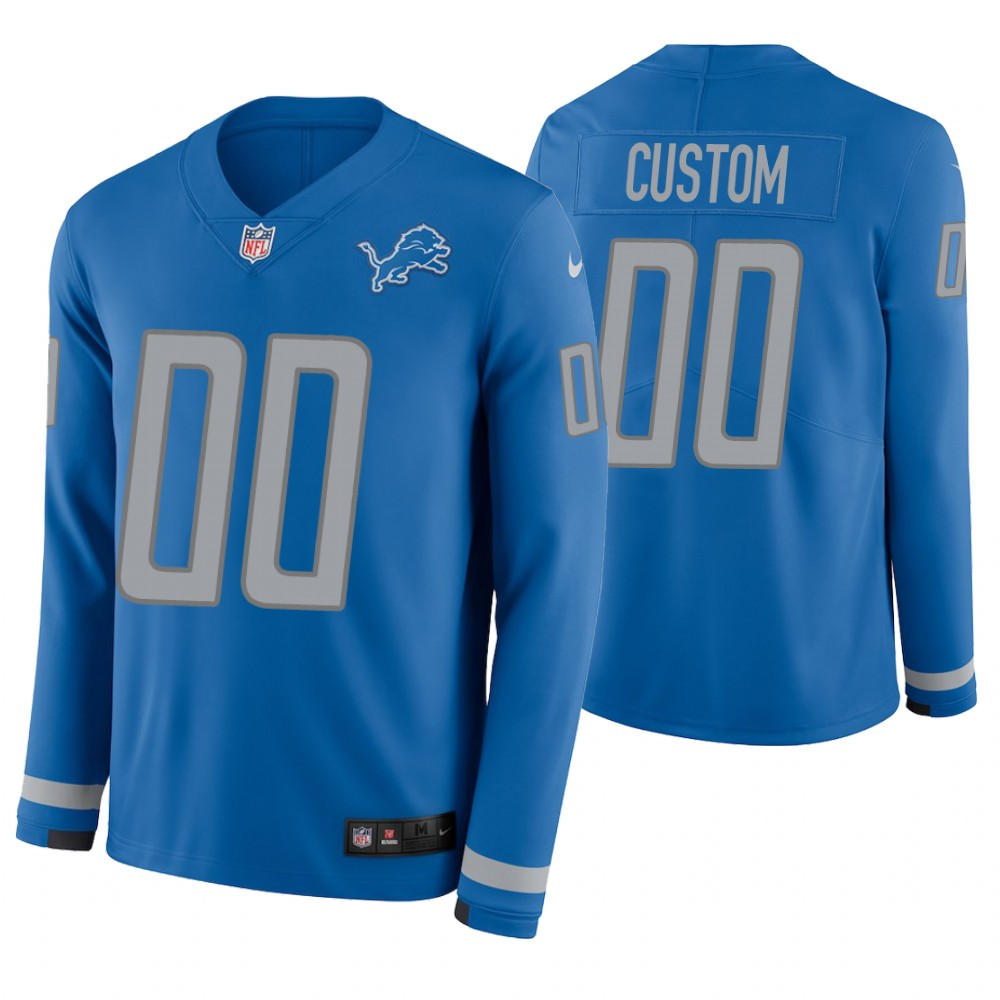 Detroit Lions Custom Blue Therma Long Sleeve Jersey