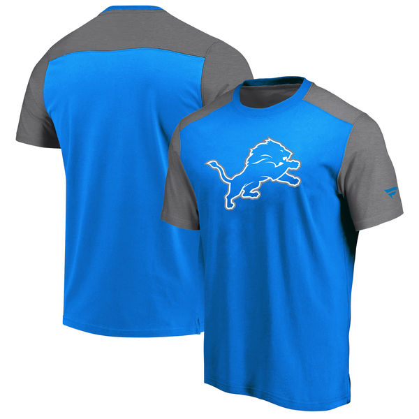 Detroit Lions NFL Pro Line By Fanatics Branded Iconic Color Block T-Shirt BlueHeathered Gray