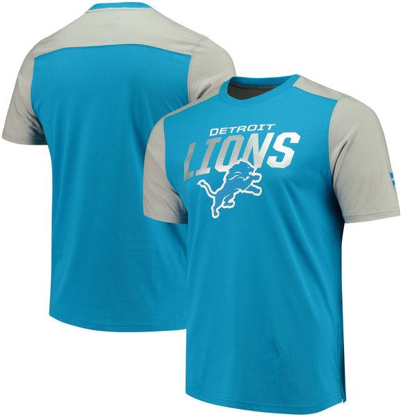 Detroit Lions NFL Pro Line By Fanatics Branded Iconic Color Blocked T-Shirt Blue Gray