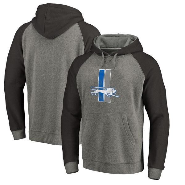 Detroit Lions NFL Pro Line By Fanatics Branded Throwback Logo Tri-Blend Raglan Pullover Hoodie Gray Black