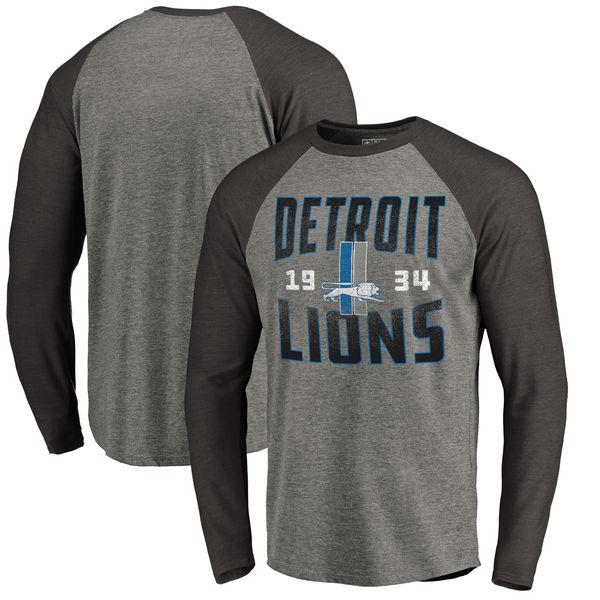 Detroit Lions NFL Pro Line By Fanatics Branded Timeless Collection Antique Stack Long Sleeve Tri-Blend Raglan T-Shirt Ash