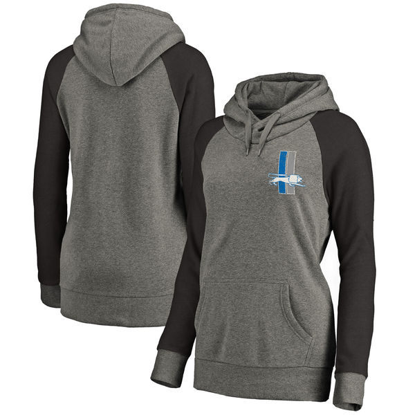 Detroit Lions NFL Pro Line By Fanatics Branded Women's Plus Sizes Vintage Lounge Pullover Hoodie Heathered Gray