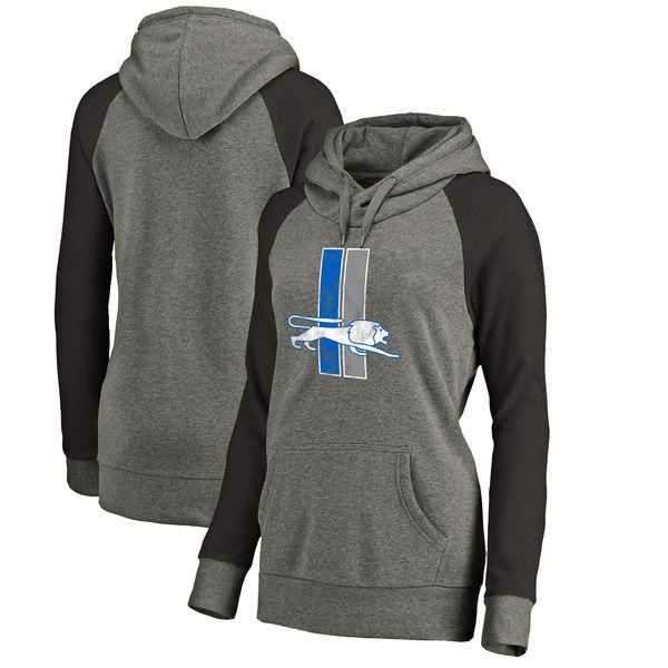Detroit Lions NFL Pro Line By Fanatics Branded Women's Throwback Logo Tri-Blend Raglan Plus Size Pullover Hoodie Gray Black