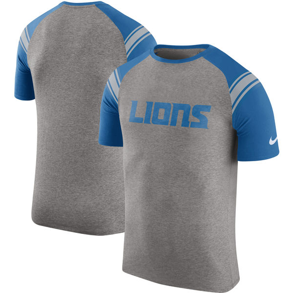 Detroit Lions Nike Enzyme Shoulder Stripe Raglan T-Shirt Heathered Gray