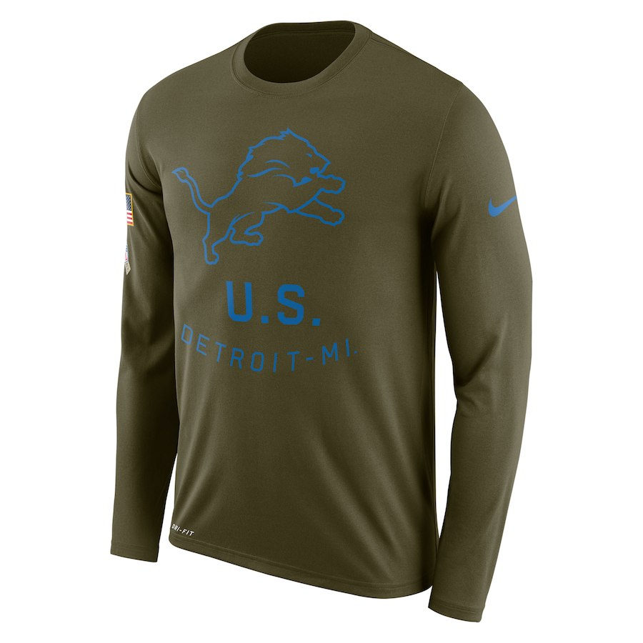 Detroit Lions Nike Salute To Service Sideline Legend Performance Long Sleeve T-Shirt Olive