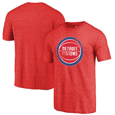 Detroit Pistons Fanatics Branded Red Distressed Logo Tri-Blend T-Shirt