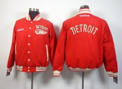 Detroit Red Wings Blank Satin Button-Up Red NHL Jacket