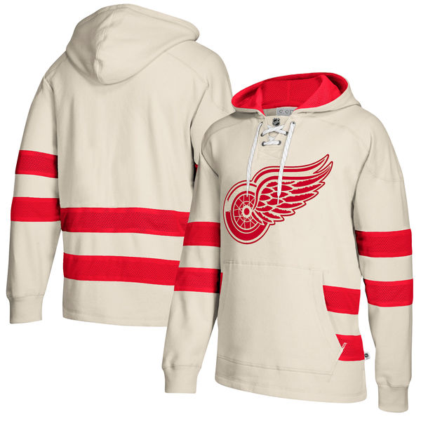 Detroit Red Wings Cream Men's Customized All Stitched Hooded Sweatshirt