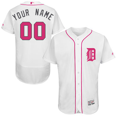 Detroit Tigers White Mother's Day Men's Customized Flexbase Jersey