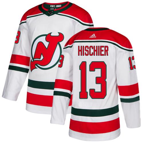 Devils #13 Nico Hischier White Alternate Authentic Stitched Hockey Jersey