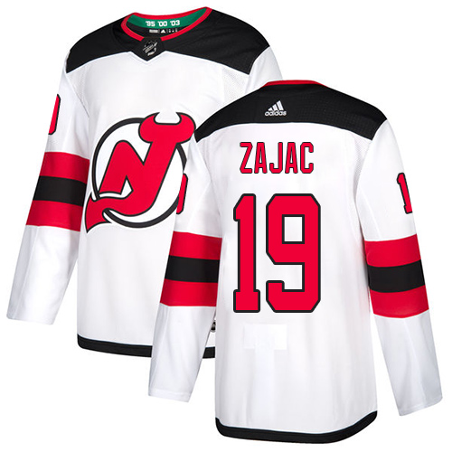 Devils #19 Travis Zajac White Road Authentic Stitched Hockey Jersey