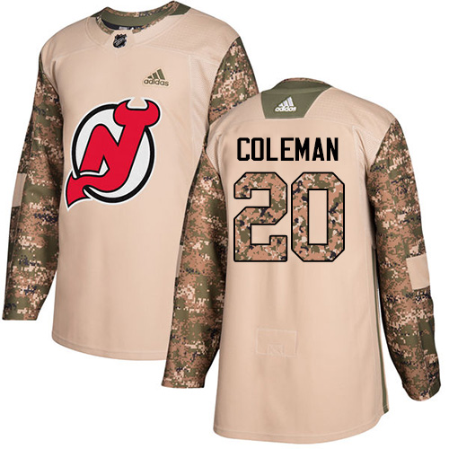 Devils #20 Blake Coleman Camo Authentic 2017 Veterans Day Stitched Hockey Jersey