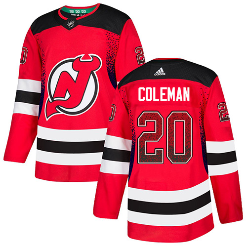 Devils #20 Blake Coleman Red Home Authentic Drift Fashion Stitched Hockey Jersey