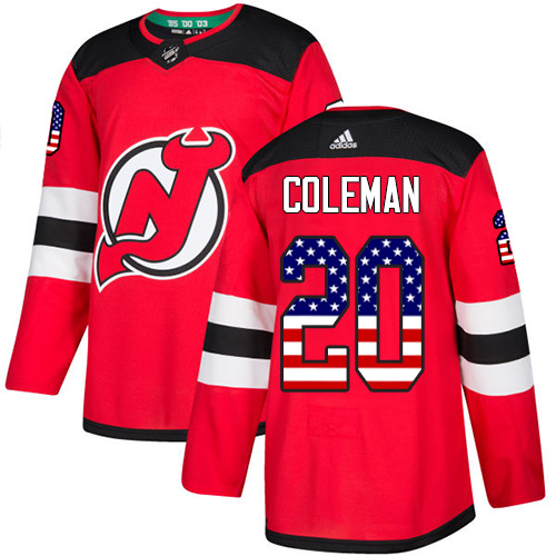 Devils #20 Blake Coleman Red Home Authentic USA Flag Stitched Hockey Jersey