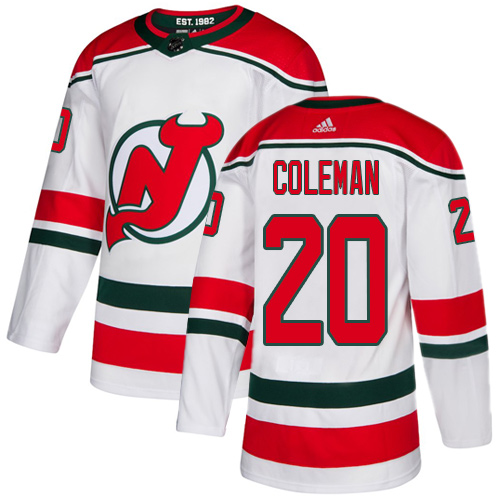 Devils #20 Blake Coleman White Alternate Authentic Stitched Hockey Jersey