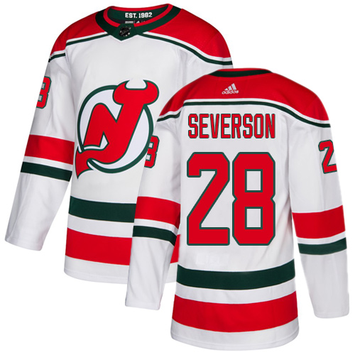 Devils #28 Damon Severson White Alternate Authentic Stitched Hockey Jersey