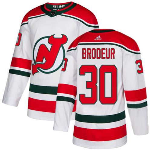Devils #30 Martin Brodeur White Alternate Authentic Stitched Hockey Jersey