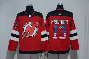 Devils 13 Nico Hischier Red USA Flag Adidas Jersey