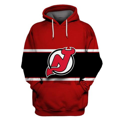 Devils Red All Stitched Hooded Sweatshirt