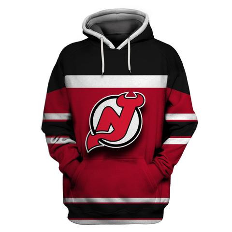Devils Red Black All Stitched Hooded Sweatshirt