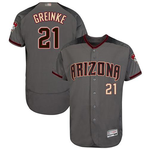 Diamondbacks #21 Zack Greinke Gray Flexbase Authentic Collection Stitched Baseball Jersey