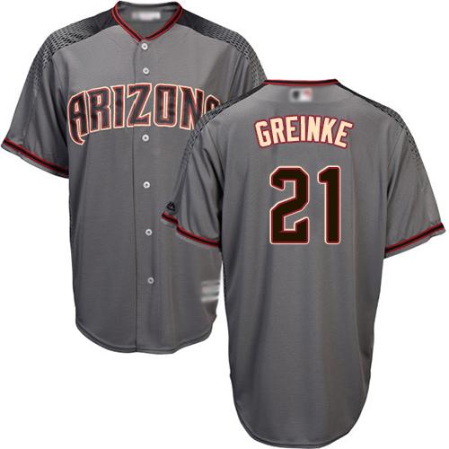Diamondbacks #21 Zack Greinke Gray Road Stitched Youth Baseball Jersey