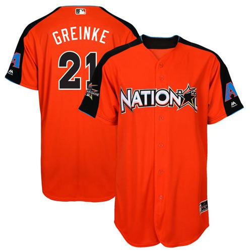 Diamondbacks #21 Zack Greinke Orange 2017 All-Star National League Stitched MLB Jersey